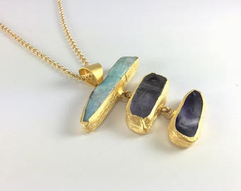 Multi Gemstone Pendant Necklace Gold Long Stone Necklace Chunky Statement Necklace Gold Chain Necklace for Women Stone Matte Gold Necklace