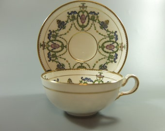 Minton Cup and Saucer, Pattern H2581, Flat Bottom Cup, Green Swags, Blue and Green Leaves, Gold Accents, Imported by Burley & Co, Chi, 1915