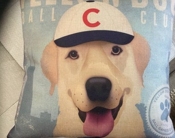 "CUBS Yellow Lab Decorator Accent Pillow. FREE Pillow Form/Insert..Chicago Cubs 16""x16"". Cotton/linen.."