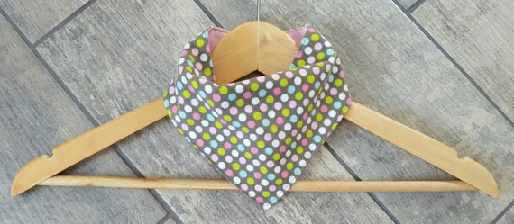 Handmade bandana drool bib - LIMITED EDITION - polka dot print cotton flannel with pink cotton - baby accessories
