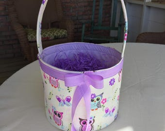 A Colorful Owl gift or diaper basket purple, blue, pink .