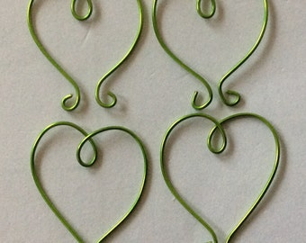 WIRE HEARTS - Pack x 10 - GREEN