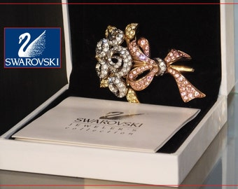 Swarovski Brooch Pin Gold Plated Roses 98 JP BOXED with COA