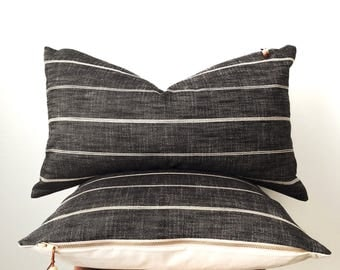 Black and cream striped pillow cover 16x26