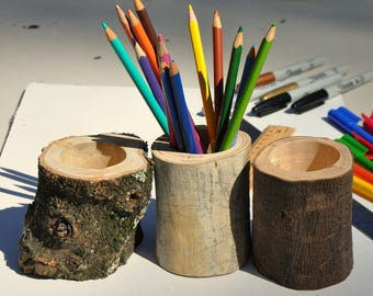 Wood Pencil Holder, Rustic Wood Vase, Rustic Wood Caddy, Natural Wood Stationary Holder, Wooden Desk Accessories
