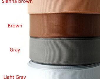 "1"" Grosgrain ribbon, Sewing supplies, Gross Grain Ribbon, Ribbon by the yard, Hat Making, Hairbow supplies, Black Brown Grey pallette"