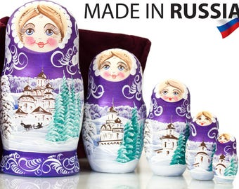 "Russian Nesting Doll - MEDIUM SIZE - 5 dolls in 1 -  ""Winters Tale"" design - Purple Color - Hand Painted in Russia"