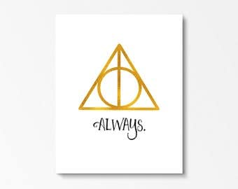 Always Harry Potter, Harry Potter Printable, Harry Potter Decor, Bedroom Decor Harry Potter, Always Printable, Harry Potter Gift, Book Print
