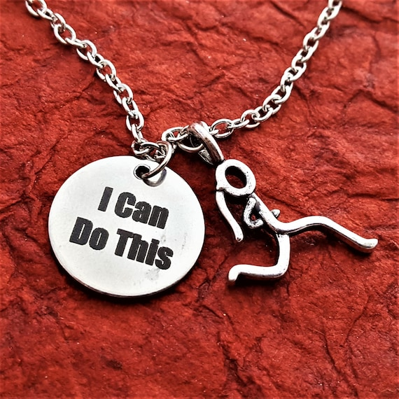 Running Jewelry, CrossFit Jewelry, Runner Gifts, Fitness Team Coach Jewelry, I Can Do This Charm Necklace, Motivational Gifts, Sports Charms
