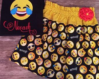 Emoji outfit, Emoji skirt, Laughing Emoji outfit, Emoji Girls Outfit