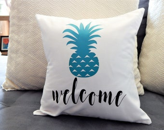 Welcome Throw Pillow Pineapple Throw Pillow HOme Accent Home Decor House Warming Gift Welcome Home Throw Pillow Pillow Cover