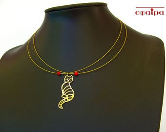 Gold cat necklace, Sterling Silver Gold plated necklace, Kitty necklaces, Real Red coral jewelry, Greek jewelry.