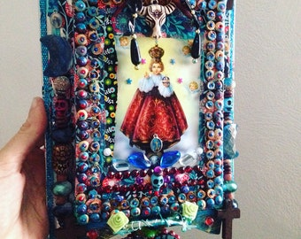 Religious mexican folk art angel painting