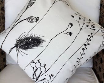 Square Cushion Cover in Black and White Poppies Garden