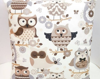 Owl cushion cover and cushion matching print front and back. owl print,pillow case print,caravan,home,bedroom,home decor,children's bedroom,