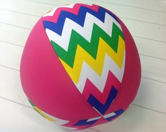 Balloon Ball Fabric, Balloon Ball Cover, Portable Ball, Travel Ball, Inflatable, Sensory, Special Needs, Chevrons, Pink, Kids, Dogs, Eumundi