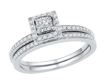10k White Gold Halo Engagement Ring With Matching Wedding Band Set, 1/4 CT. T.W. Diamond Ring, Also Available In Sterling Silver