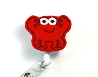 CRAB Felt badge reel, Cute crab badge reel, Red crab badge reel, Felt badge reel, Retractable badge reel