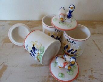 Novelty Duck Storage Jars,French Storage Canisters, Vintage french, Kitchenalia