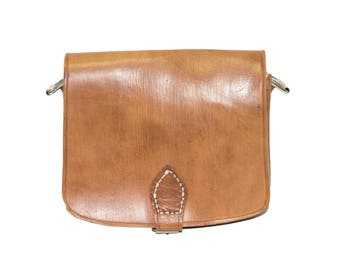 80's Style Hand Stitched Tan Brown Satchel bag