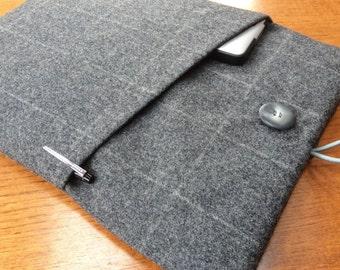 """MacBook 13"""" Pro Air cover case, laptop sleeve, British grey wool tweed"""