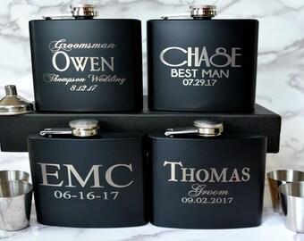 Set of 11, Groomsmen Gift, Flask Gift Set, Personalized Flask, Custom Flask, Groomsmen Flask, Wedding Party Gift, Best Man Flask, Groomsman