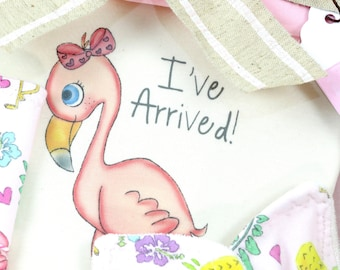Baby Shower Gift, Baby Girl Gift Set,  Organic Handmade Set, Flamingo Baby Bodysuit, Baby Teething Ring, Baby Washcloth, Knot Cap