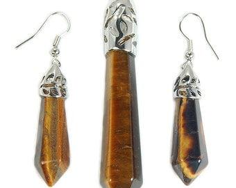 Necklace & Earring Set, Tigers Eye, Gemstone Earrings, Tigers Eye Earrings, Tigers Eye Necklace, Gifts for Women, Jewelry Set, Gemstone