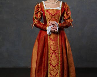 Renaissance dress red (terracotta) color gown Italian fashion Medieval dress 15th century !ONLY TO ORDER!