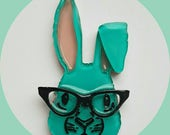 Bunny Rabbit Brooch, Cat Eye Glasses, Vintage Inspired, Novelty, Rockabilly, Pinup, Acrylic, Resin, Spring, Easter, Lasercut, Pin, Turquoise
