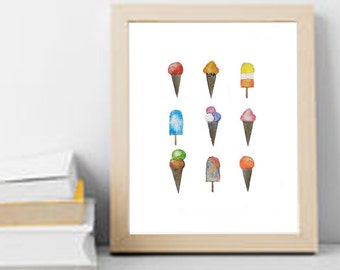 Ice Cream Watercolour | Icecream Watercolor Painting | Decore | Wall Art | PRINT