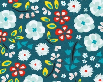 Prize Garden Teal - Sidewalk -  Cloud9 Fabrics - Organic Cotton Knit by the Yard