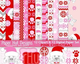 Christmas Digital Papers-Christmas Clipart-Christmas Holiday Clip Art-Christmas Puppy Dog-Paws-Snowflake-Labels-Pink and Red