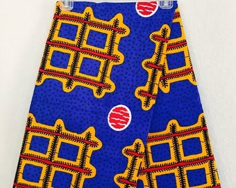 African Fabric - by the yard - Wax/Dutch - cobalt blue, yellow, red, white, black - thatch and circle pattern