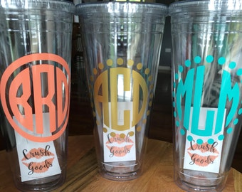 32 oz Personalized Straw Tumbler - double-walled monogrammed cup