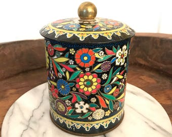 """Vintage Daher Tin Container with """"Cloisonne"""" Style Floral Pattern and Round Lid 