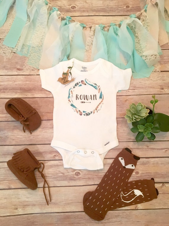 Baby Boy Gifts With Name : Personalized baby gift name onesie? boho clothes