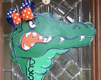 Alligator door hanger Gator door hanger Florida Gators door hanger