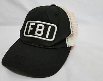 Vintage FBI trucker Mesh Snapback Cap Embroidery Logo