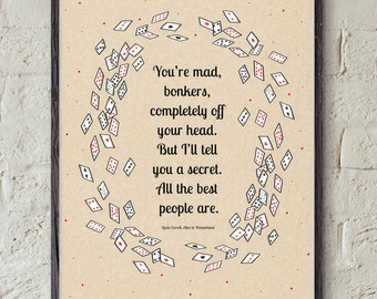 BONKERS Quote - Lewis Carroll Novel - Alice in Wonderland Print - Bookish Printable - Literature Wall Art - Playing Card Decor