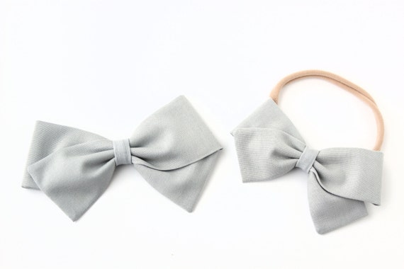 Baby Girl, Toddler, Fabric Bows, Newborn, Hand tied bow- Light Gray Bow