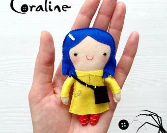 Little Felt Coraline, Cute, Doll, Handmade