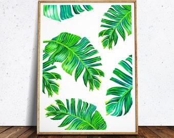 Tropical Printable Art, Tropical Leaves, Banana Leaf Art, Palm Leaf Print, Leaf Print, Palm Digital Print, Tropical Print, Tropical Wall Art
