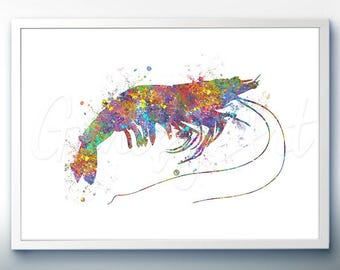 Prawn Sea Animal Watercolor Art Print  - Watercolor Painting - Sea Life Watercolor Art Painting - Home Decor - House Warming Gift