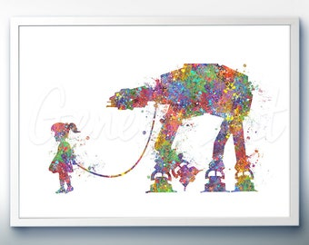 Star Wars AT-AT Walker and Little Girl Watercolor Art Silhouette Poster Print - Wall Decor - Watercolor Painting - Home Decor - Kids Decor