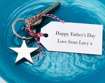 Personalised Star Father's Day Keyring And Tag