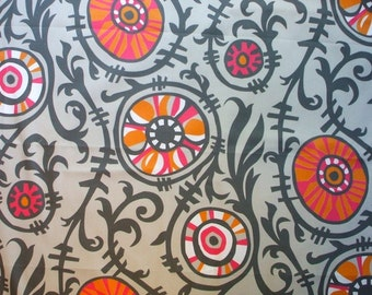 Suzani Vine Orange, Pink, Gray Contemporary Floral Natural Cotton Fabric By-the-Yard