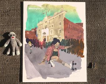 Funk Parade at Howard Theater - Postcards from Washington DC - Shaw neighborhood, U Street illustration, Roller skate print, dance art