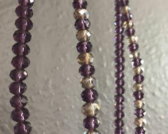 Dark plum purple glass beaded crystal bullet necklace