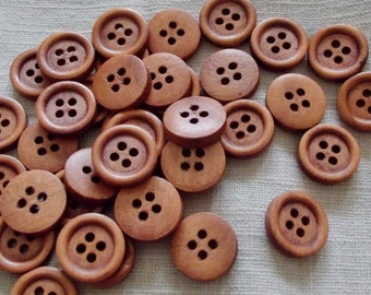 10 Dark Brown Wooden Buttons - 10mm or 15mm